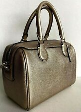 New Coach 39706 mini Bennett Satchel Metallic Leather handbag Metallic Platinum
