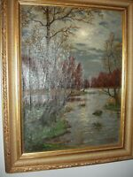 FRAMED SIGNED 19THC FALL EVENING MOON RIVER LANDSCAPE OIL ON CANVAS PAINTING!!!!