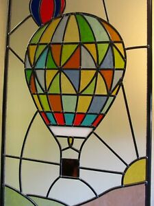 Newly crafted TRADITIONAL Stained Glass Window Panel HOT AIR BALLOONS 373x718mm