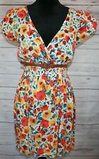 Women's As U Wish Multi Color Floral Print Short Dress with Belt Size Small