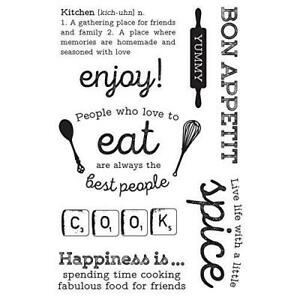 Kaisercraft Bon Appetit Clear Cling Stamps Recipe cooking Sentiments