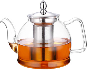 Hiware 1000ml Glass Teapot with Removable Infuser, Stovetop Safe Tea Kettle, Blo