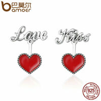 Bamoer Fine .925 Sterling Silver Stud earrings Red Love Kiss For Women Jewelry