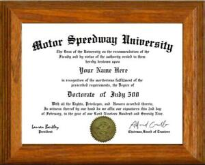 Indy 500 Lover's Doctorate Diploma / Degree Custom made and Designed for you