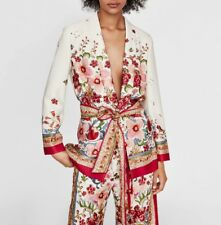Chic Women Printed jacket Coat Top Elastic Waist Wide Leg Pants Trousers Suits
