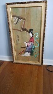 "Vintage Asian Original Watercolor Painting Geisha/Harp  Signed & Framed 27""x15"""