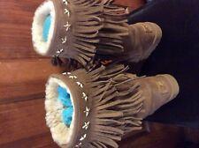 Ugg & Jimmy Choo Chestnut Sora Limited Edition Tall Boots W/Stars & Fringle 7