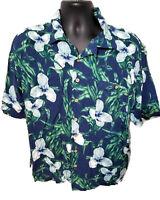 Tropicool Hawaiian Aloha Shirt Size XL 100% Rayon  - Blue Floral