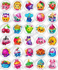 30 X Divertida Fiesta Comestible Arroz Oblea Shopkins Papel Cupcake Toppers