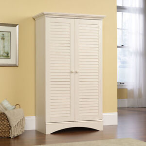 Storage Cabinet with Doors Linen Closet Distressed Furniture Pantry Hutch White