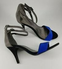 New look size 6 (39) grey / black / blue faux suede buckle ankle strap heels