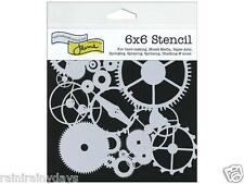 """The Crafter's Workshop 6""""x 6"""" stencil, Mini Gears TCW262s"""