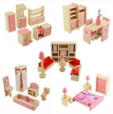 Dolls House Furniture Wooden Set People Dolls Toys For Kids Children Gift New