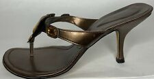 Newport News Womens Brown Leather Sandals Size 9.5M Yellow Jewels Kitten Heel Mw