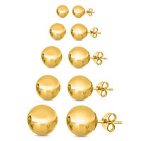 14K Yellow Gold Plated Ball Stud Earrings Sizes:2-10mm + GIFTBOX ITALY