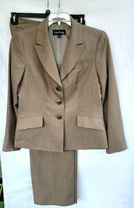 Evan Picone 2 Piece Pant Suit Blazer Womens Size 10 Brown Pinstripe