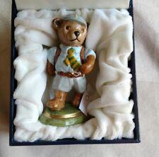 Halcyon Days Porcelain Figurine Teddy Bear Going to School animal original box