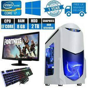 Fast Gaming Nero White PC Bundle Intel Core i7 8GB RAM 2TB HDD 4GB GTX 1050Ti