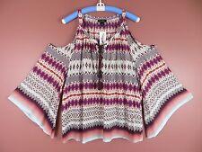 TB04068- NWT JESICCA SIMPSON Woman Viscose Fashion Blouse Multi-Color Geo 2X $69