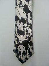 laughing skulls tie skinny necktie Halloween costume tie FREE SHIP skeleton