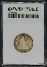 1875-CC Seated Liberty 20C ANACS AU55 UNC Details Carson City Mint Soapbox