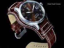 Invicta 44MM I Force Quartz Brown Dial Brown Legarto-style Genuine leather Watch