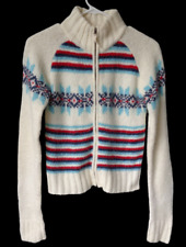 Nordic Knits Hollister Off White Red Blue Zip Cardigan Sweater Fluffy Jr L Large