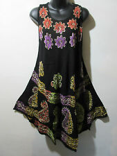 Dress Fits 1X 2X 3X Plus Sundress Tunic Black Red Purple Batik A Shaped NWT 031
