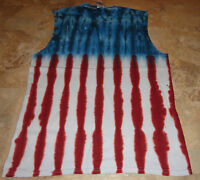 Large Mens USA American Flag tie dye dyed sleeveless t-shirt Muscle Tank Top LG