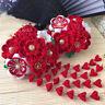 handmade red Hairpin Tsumami ZAIKU Kanzashi Flower  Tassel for Kimono Hanfu