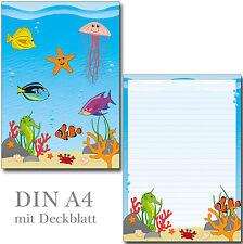 Schreibblock Unterwasserwelt Fische Seepferd A4 25 Blatt Briefpapier Briefblock