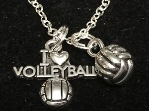 """I Love Volleyball and 3D Ball Charm Tibetan Silver 18"""" Necklace"""
