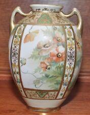 Antique Nippon Morimura Porcelain Vase Gold Beaded Hand Painted Floral Motif