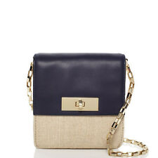 KATE SPADE NEW YORK LINCOLN SQUARE FABRIC/LEATHER SHANE BAG- NAVY/NATURAL - $238