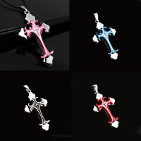 Unisex Men Blue Silver Stainless Steel Cross Pendant Charm Necklace Chain Gift