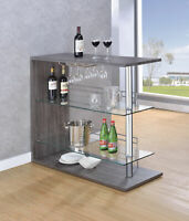 Coaster Modern Pub Home Weathered Gray Bar Table UNIT Glass Shelves Wine Rack