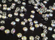 100 x 6mm ab Glas zum Aufnähen Silber Set Kristallen Strassstein SS30 Basteln