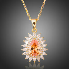 New 18K Gold GP Made With SWAROVSKI Element Crystal Necklace Flower Clearance