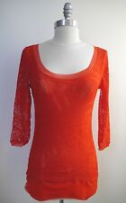 NEW JEAN PAUL GAULTIER JPG SOLEIL coral red netted mesh top size M NWOT