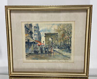 VTG. French Impressionist Pierre Eugene Cambier Watercolor Painting