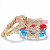 Pets Dogs Collars Leather Small Dogs Bling Crystal Puppy Choker Cat Dog Necklace