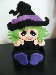 HALLOWEEN - WITCH TREAT HOLDER - HANDMADE - FINISHED ITEM - PLASTIC CANVAS