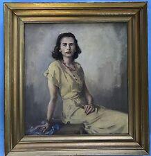 Art Deco Eleganz Ölgemälde Dreiviertel Porträt elegante chice Dame Signatur? ~25