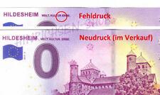 """FEHLDRUCK! 0-Euro-Schein """"HILDESHEIM"""" 2019-2 Billet Souvenir FAUTE + Neudruck"""
