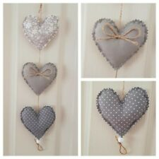 Handmade Fabric Padded Hanging Heart purple Lime Green Grey