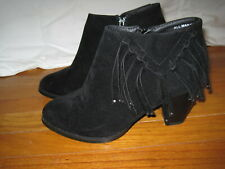 Francesca's Black Suedette Fringe Ankle Booties Size 8