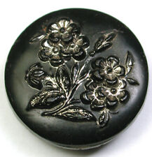 Antique Black Glass Button Pretty Flowers with Silver Luster 7/8""
