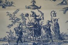 Toile Fabric Blue and White Printed Duralee Fabric Toile Shanghai 3 yards