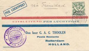 1930 SURINAME LUCHTPOST VIA TRINIDAD PARAMARIBO AVION COVER AIRMAIL HOLLAND