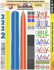 MG3456 - 1/24 High Def UltraCal Seat Belt, Stripes and Accessory Decals